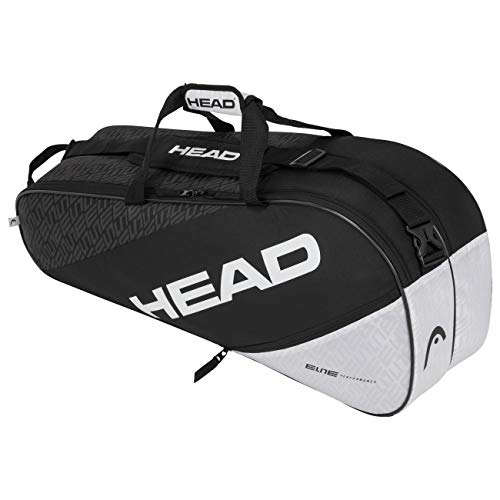 Head Elite 6R Combi Bolsa de Tenis, Adultos Unisex, Negro/Blanco