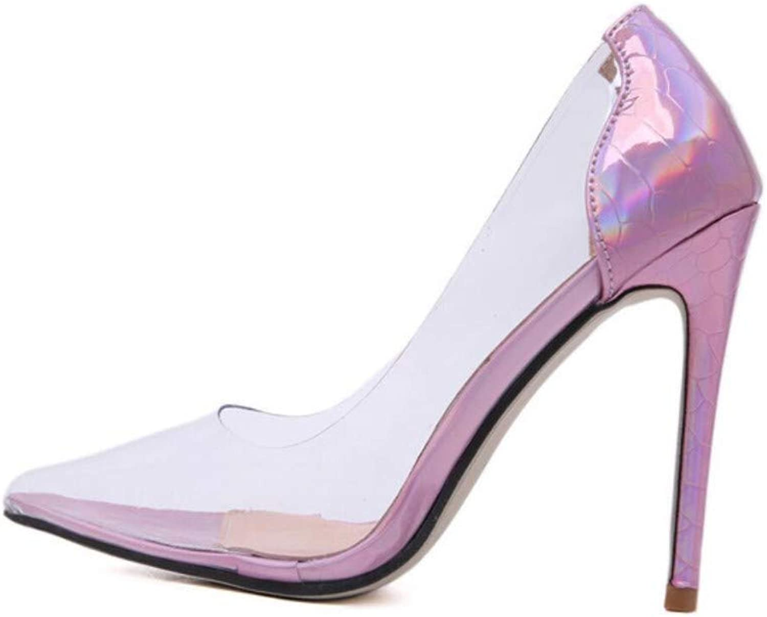 JQfashion Transparent Gradual Colour Change of Tip Tip Sexy Sandals for Women's High-Heeled shoes