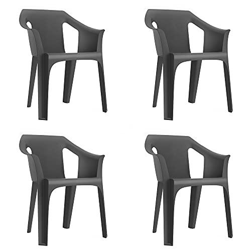 RESOL Cool Set 4 Sillas de Jardín con Reposabrazos Apilable   Terraza, Patio, Exterior, Comedor, Reuniones   Diseño Moderno Ligera y Resistente Filtro UV - Color Gris Oscuro