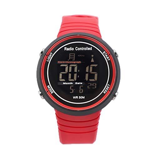 Nuevo 2019 Reloj Impermeable Reloj Solar Radio Reloj Solar Reloj de Moda Reloj Deportivo al Aire Libre Reloj de natación - Rojo