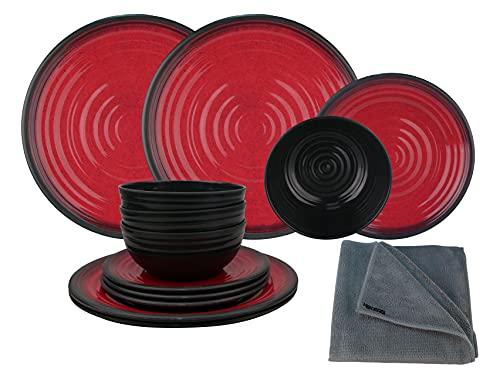 HEKERS Vajilla de 100 % melamina de granito, juego de 12 piezas, para 4 personas, 1 paño de microfibra de Hekers para exteriores, picnic, camping, apto para lavavajillas