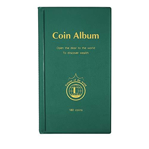 AITIME Münzsammelalbum mit 180 Taschen, Buchalbum für Sammler – Münzsammelzubehör, Sammleralbum, Aufbewahrung, geeignet für Münzen mit einem Durchmesser von weniger als 4 cm (1,66 Zoll), Grün