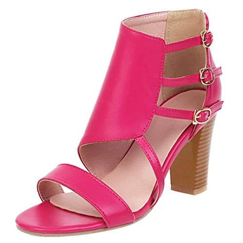 KIMIGAGA Mujer Moda Tacón Ancho Sandalias Punta Abierta Fiesta Zapatos Vestido Sandalias Botas Alto MeiHong Talla 35 Asiática