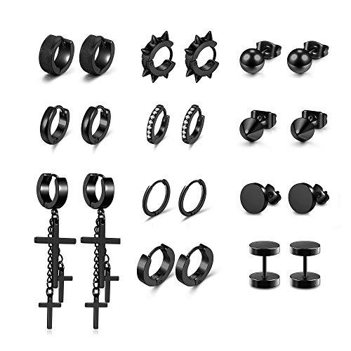 PiercingJak 11 pares de pendientes de aro para septum, hélix, tragus, cartílago, de acero inoxidable, falso dilatador, colgante de cruz, punk, gótico, joyas para unisex, color negro