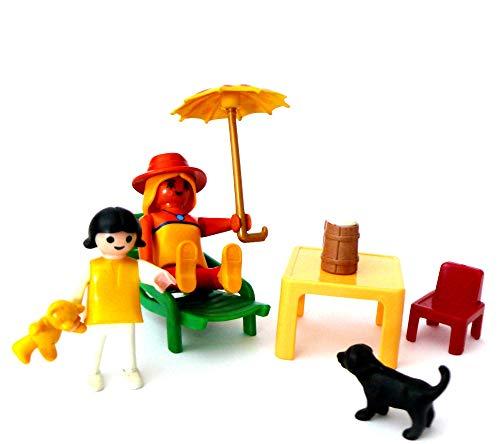 playmobil ® - Frau Mutter lässt sich bräunen - Liege Tisch Sonnenschirm