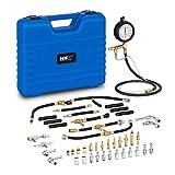 MSW Medidor de Presión de Combustible Herramienta Taller Auto MSW-EGN-13 (Set de 30 Piezas, para Motor de Gasolina, Manómetro, Adaptador)