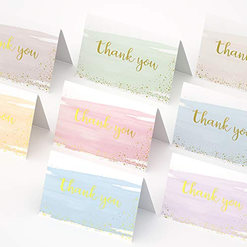 Baby Shower Thank You Cards, HOLOYO 48 Bulk Thanksgiving Day Watercolor Greeting with Envelopes, Wedding Thank You Cards, Bridal Cards, with Matching Stickers for Appreciation Birthdays Graduation
