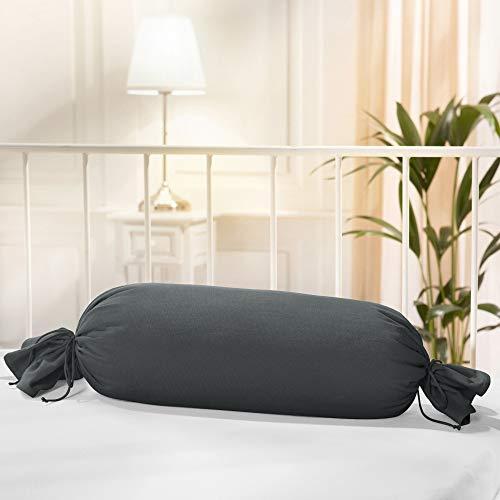 Erwin Müller Nackenrollenbezug Memmingen Interlock-Jersey anthrazit Größe 40x15 cm Ø - formstabil, faltenfrei, anschmiegsam, mit Bindeband (weitere Farben)