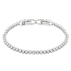 Swarovski Emily Armband, Rhodiniertes Damenarmband mit Strahlenden, Weißen Swarovski Kristallen