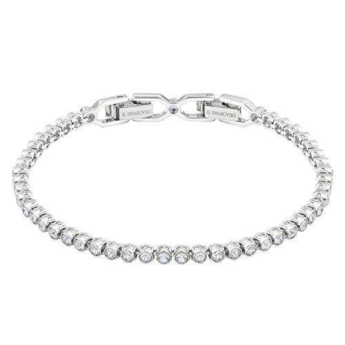 Swarovski Emily Tennis Armband für Frauen, weißes Kristall, rhodiniert