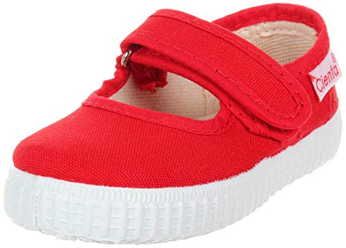 Cienta Mary Jane Sneakers for Girls – Red Casual Shoes with Adjustable Strap, 27 EU (9.5 M US Toddler)