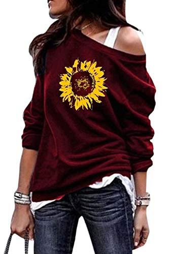 Yanekop Womens Sunflower Printed Sweatshirt Off Shoulder Long Sleeve Casual Pullover Shirt Tops(Burgundy,L)
