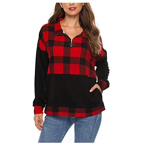 Masoness 💎💎 Frauen Reißverschluss Farbblock Kariertes Hemd Ellenbogen Patches Pullover Sweatshirt Top,Lässiges Langarm-Pullover-Oberteil mit Karierten Nähten für Damen