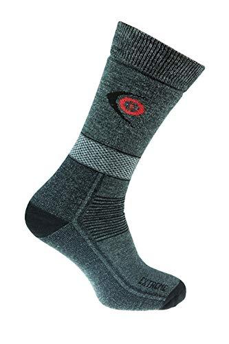 eXPANSIVE Chaussettes de randonnée en Laine mérinos Gris foncé 095/02, Trekking Extreme 095/02, Dark Grey/Black/Red, UK 9-12 (EUR 43-46)