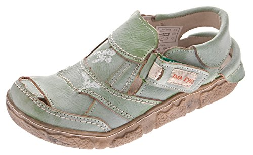 TMA Damen Comfort Sandaletten Leder Schuhe 7668 Grün Halbschuhe im Used Look Sandalen Gr. 36