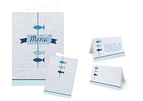 Logbuch-Verlag SET 25 Tischkarten + 10 Menükarten Fische blau türkis weiß Taufe Hochzeit Geburtstag Kommunion Sommer maritim Tischdeko Namensschilder
