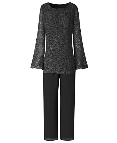 LoveeToo Women's 2 Pieces Lace Mother Of The Bride Evening Dress Pant Suits For Wedding