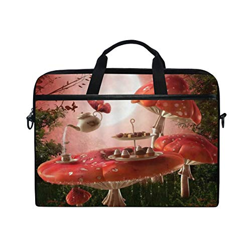 FOURFOOL 15-15.6 inch Laptop Bag,Fairytale Gazebo Retro Colorful Pavilion Hanging Lanterns Meadow Flowers Spring Nature Scenic,New Print Pattern Briefcase Laptop Shoulder Messenger Handbag Case Sleeve