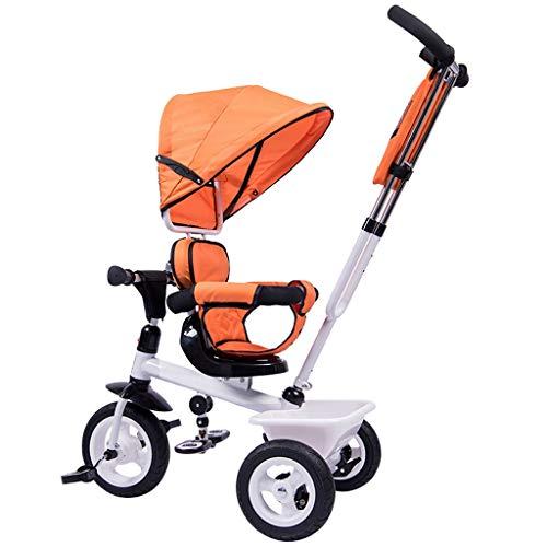GCXLFJ Triciclo Bebe Niño Plegable Triciclo,1-6 Años De Edad Infantil 4 En 1 Sombrilla Triciclos,Niñas Regalo De Cumpleaños,Naranja,60x70x104cm