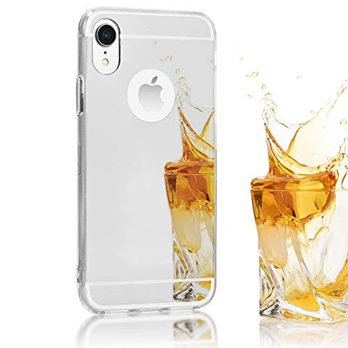 NALIA Mirror Case Compatible with Apple iPhone XR, Ultra-Thin Shiny Protective Selfie Silicone Cover, Slim Shockproof Gel Protector with Reflective Back, Smart-Phone Bumper Skin, Color:Silver