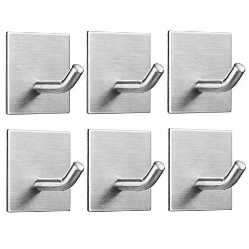 FOMANSH Heavy Duty Adhesive Hooks Stick on Wall Adhesive Hangers Strong Stainless Steel Holder Self Adhesive Hooks for Kitchen Bathroom Home Door Towel Coat Key Robe 6 Packs Silver