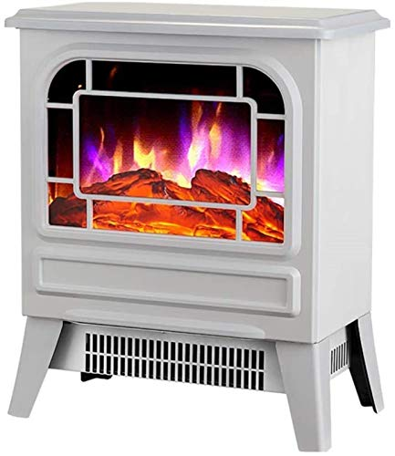 GJNVBDZSF Electric stove with wood burner flame effect - 2000W black and white - Freestanding fireplace with wood burning LED light