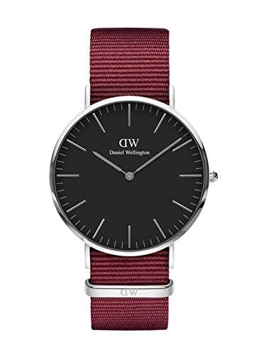 Daniel Wellington Unisex Erwachsene Analog Quarz Uhr mit Stoff Armband DW00100270