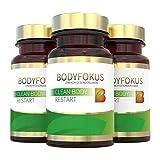 BodyFokus Clean Body Restart | Mit Mariendistel (80% Silymarin), Artischocke, Brennessel, Kurkuma (95% aktive Curcuminoide), Chlorella, Klettenwurzelpulver u.v.m | 3 Dosen