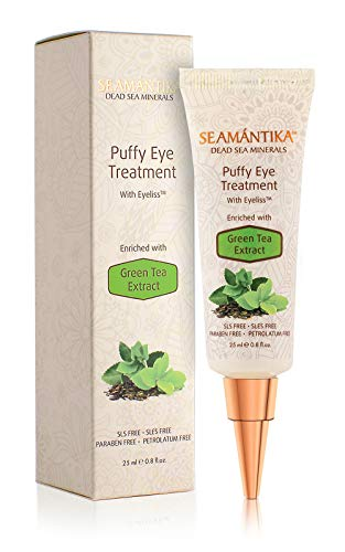 Puffy Eyes Treatment Instant results – Naturally Eliminate Wrinkles, Puffiness, Dark Circle and Bags in Minutes – Hydrating Eye Cream w/ Green Tea Extract, Dead Sea Minerals by SEAMANTIKA – .8 oz