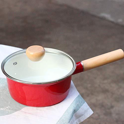 Pot À Lait Pots À Lait Marmite Japanese Enamel Milk Pot Noodle Pot Complementary Food Pot Diameter: 16Cm, 16Cm Red Enamel Cover