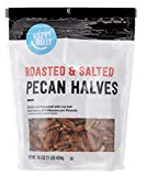 One 16-ounce bag of Happy Belly Roasted and Salted Pecan Halves Roasted and seasoned with sea salt Kosher Certified snack Perfect for school time, snack time, play time, travel time, or any time Pack size perfect for sharing during holidays and event...