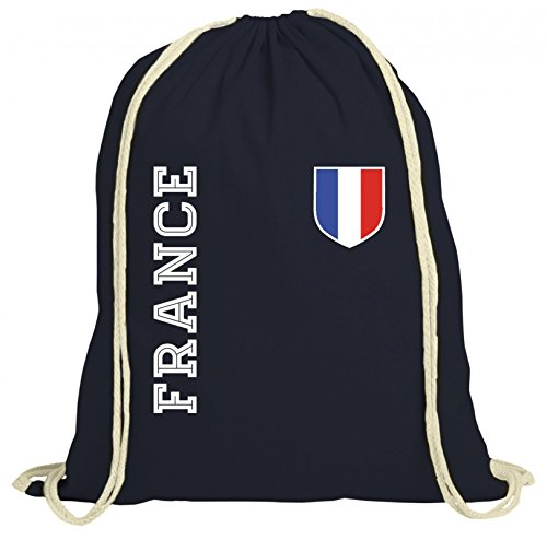 Frankreich Fußball WM Fanshirt Gruppen natur Turnbeutel Rucksack Gymsac Fan Trikot France, Größe: onesize,dunkelblau natur
