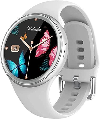 Reloj inteligente para mujer de moda con pantalla táctil completa con múltiples modos deportivos, resistente al agua, reloj animado, seguimiento de actividad facial, color gris