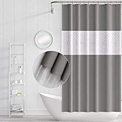 Funria Spliced Gray Waterproof Shower Curtain