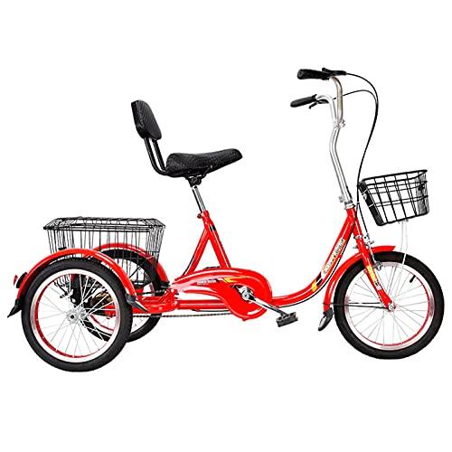 HOUSEHOLD Triciclos para Adultos, Bicicletas De 3 Ruedas Tipo Pedal con Cestas De Gran Capacidad, Triciclos Cruiser De Una Sola Velocidad Masculinos Y Femeninos con Respaldo, para Compras Y Picnics