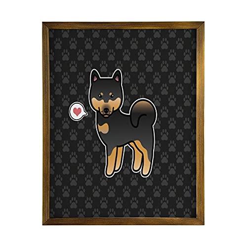 by Unbranded Gerahmtes Holzschild Noir Et Brun Clair Dessin Animé Shiba Inu Amour Marron En, Kunstwerk von Holz Schild für Dekoration Toilette