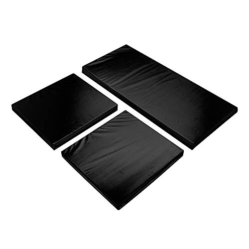 Outdoor Seat Cushions for Rattan Garden Furniture 3PC Replacement Water Resistant Patio Furniture Chair Padding BLACK