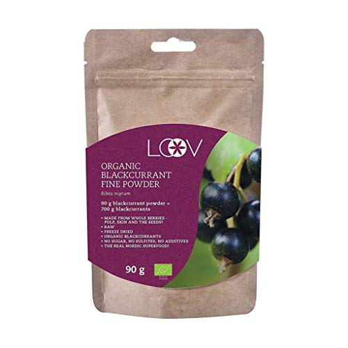 Poudre de cassis bio de LOOV, produite à 100 % à partir de cassis entiers, Cassis organiques lyophilisés et réduits en poudre, 90 g, cru, Pousse en Europe du Nord, aucun sucre ajouté