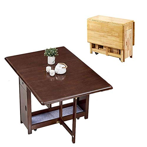 AOIWE 1.3M Dining Table Folding Drop Leaf Butterfly Solid Wooden Kitchen Furniture Natural Pine (Color : Walnut)