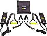 GoFit Gravity Resistance Straps – Bodyweight Suspension Trainer with Door Anchors, Handles, Ankle Cradles