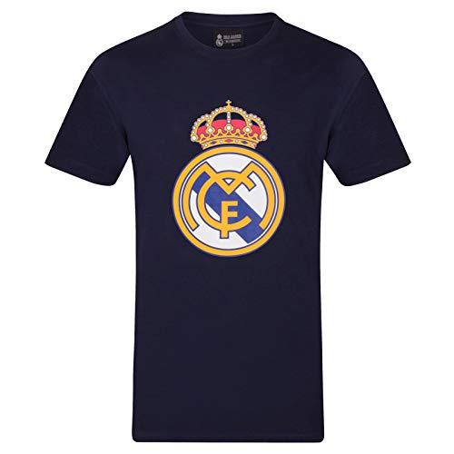 Real Madrid Official Football Gift Mens Crest T-Shirt Navy Medium