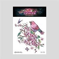 女性と男性のファッションボディーアートの大人の防水手フェイクタトゥーに適した花の鳥、一時的なタトゥーステッカー12枚,Rh031