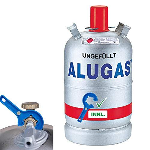 Stellfeld & Ernst Gasflasche Alu 11kg Propangas Camping Alugas-Flasche leer inkl. Gasregler-Schlüssel mit Magnet