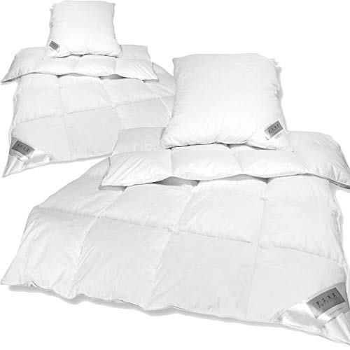Bettenset Comfort 4tlg - 2X Federn Daunen Bettdecke 135x200 cm und 2X Kopfkissen 80x80 cm - Premium Bettdeckenset - Bezug aus 100% Mako Baumwolle / 1000g Füllung / ÖkoTex100