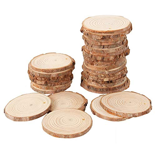Moligh doll 40Pcs 3-4CM Unfinished Natural Round Wood Slices Circles with Tree Bark Log Discs for DIY Crafts Home Party Decoration