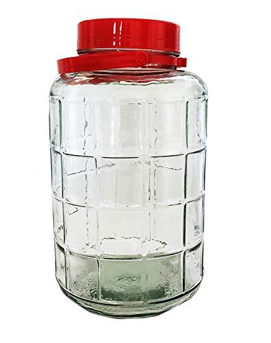 Barattolo grande di vetro con coperchio rosso, Vetro, Red, 10 Liter