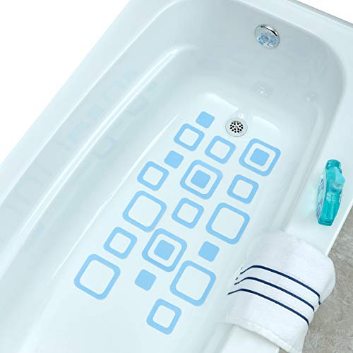 SlipX Solutions Adhesive Square Safety Treads Add Non-Slip Traction to Tubs, Showers & Other Slippery Spots - Design Your Own Pattern (21 Pieces, Reliable Grip, Blue)