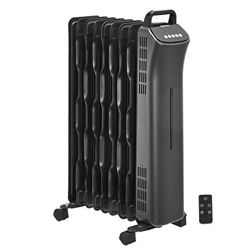 Amazon Basics Portable Oil-Filled Digital Radiator Heater with 9 Wavy ECO-Fins and Remote Control, 2000W, UK Plug- Black