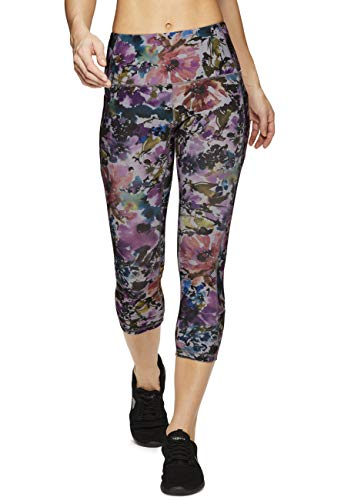 RBX Active Women's Side Pocket Multi Floral Yoga Capri Leggings Watercolor M