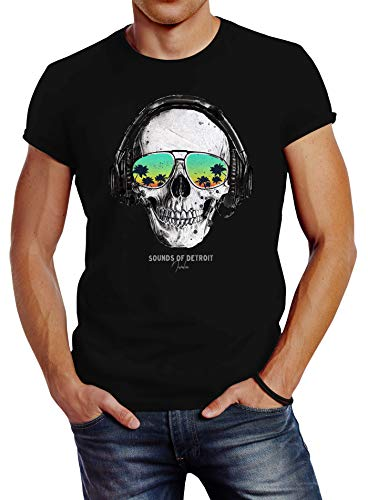 Neverless® Herren T-Shirt Totenkopf Kopfhörer Musik Party Skull Sonnenbrille Schädel Sounds of Detroit Music Slim Fit schwarz 3XL